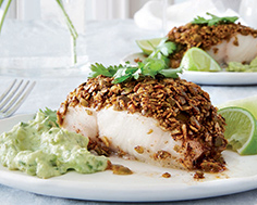 Pumpkin-Seed & Chili-Crusted Fish Fillets with Avocado Tartar Sauce